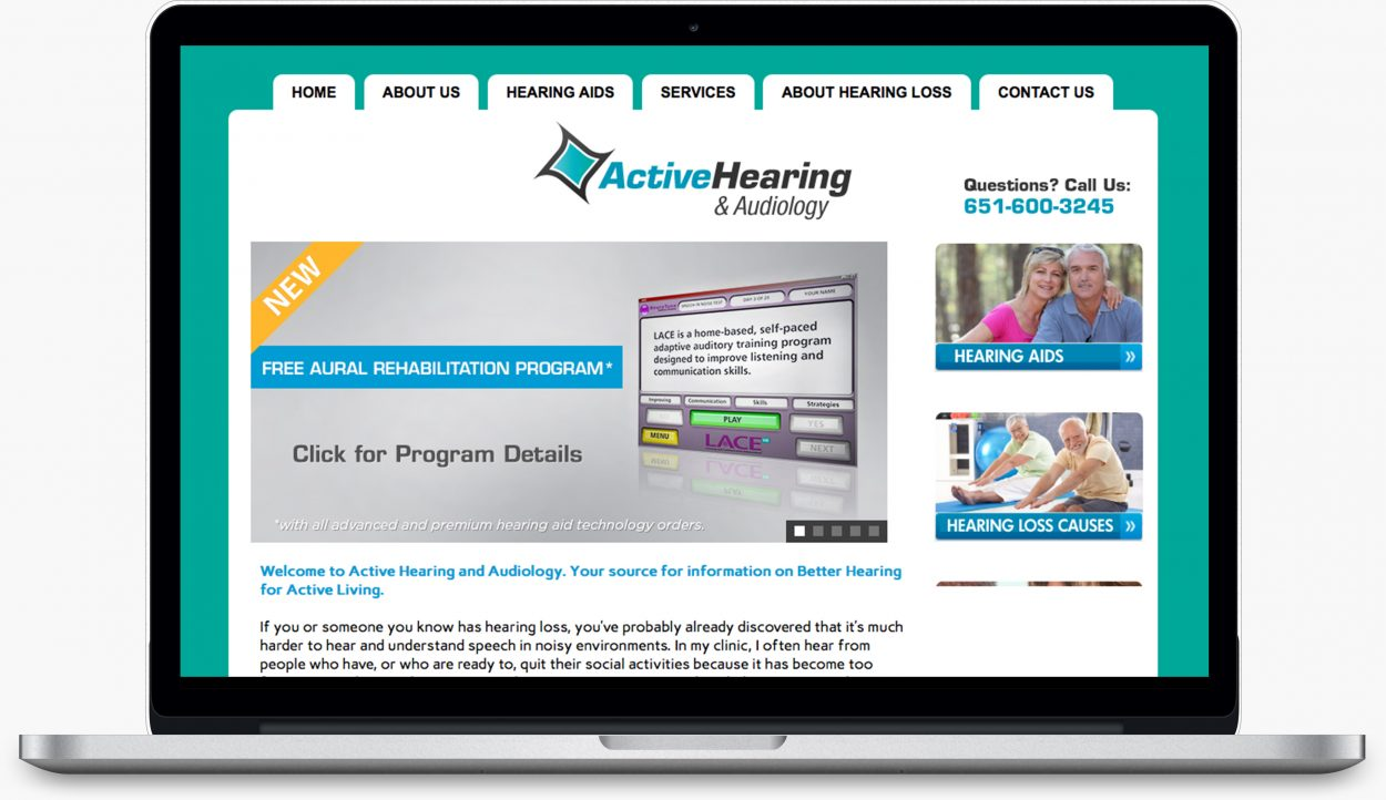 Active Hearing and Audiology webdesign by Dreambig Creative - Minneapolis, MN