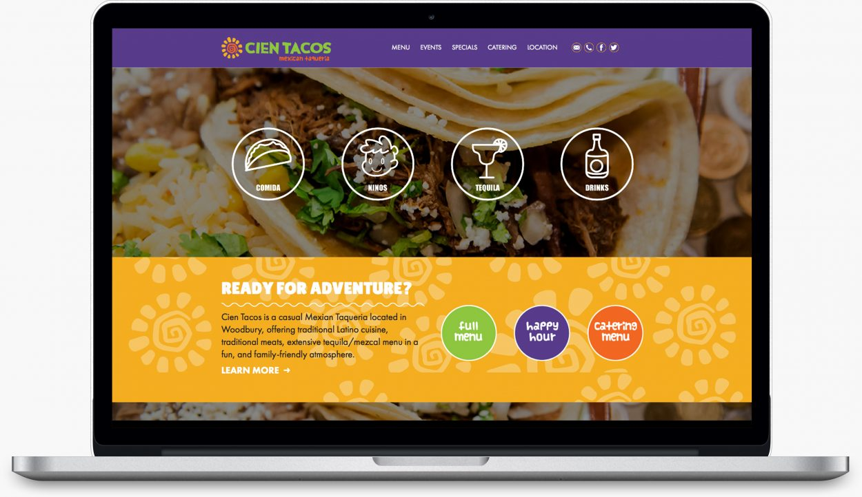 Cien Taco's website design by Dreambig Creative - Minneapolis, MN