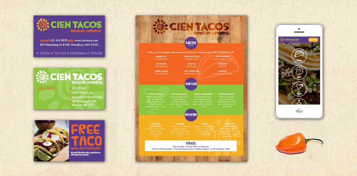 Cien Tacos Brand Identity and Website Development by DreamBig Creative Minneapolis, MN