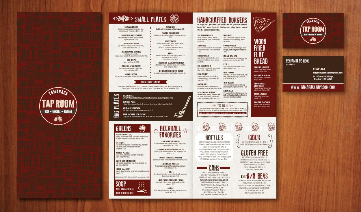 Tamarak Taproom Woodbury Menu Design by DreamBig Creative Minneapolis, MN