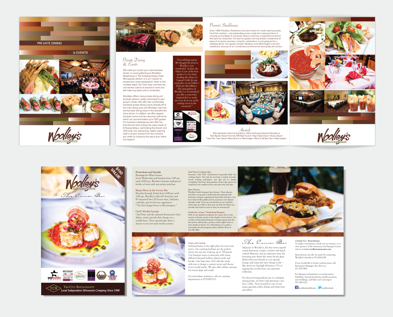 Woolley's Restaurant Brochures by DreamBig Creative Minneapolis, MN